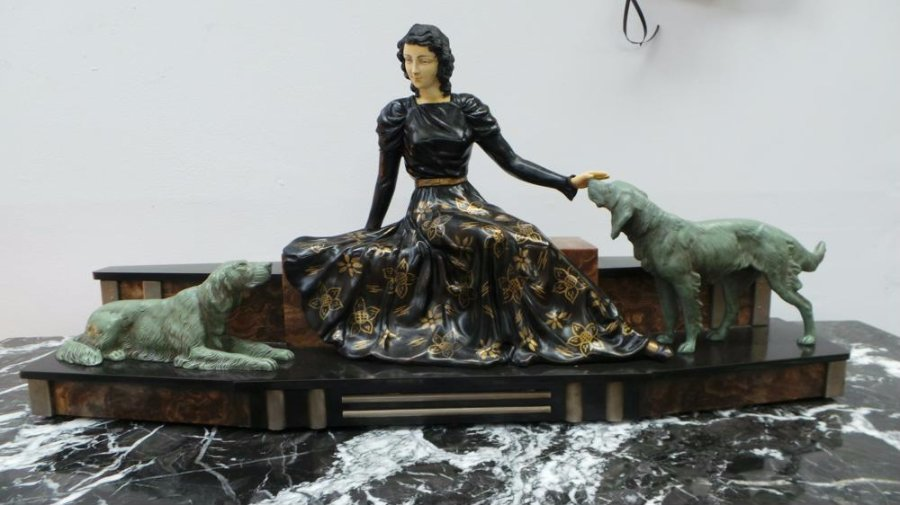 Buy Amazing Art Deco French Spelter Statue From Moonee