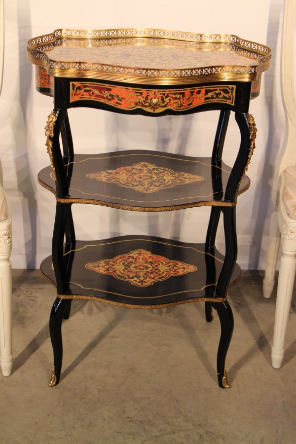 Buy French Boulle Etagere Table Brass Inlay From Antiques
