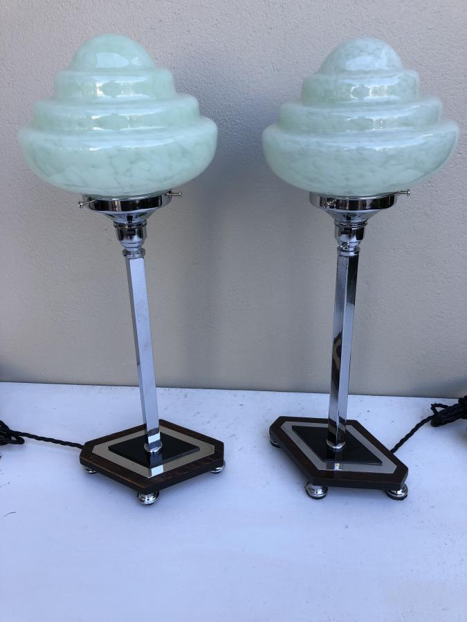 Buy English Deco Chrome Timber Lamp Pair From Prism