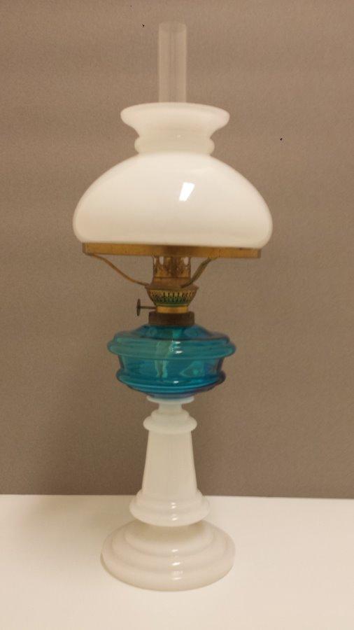 Buy Antique Blue Amp Milk Glass Kerosene Lamp From Oaktree