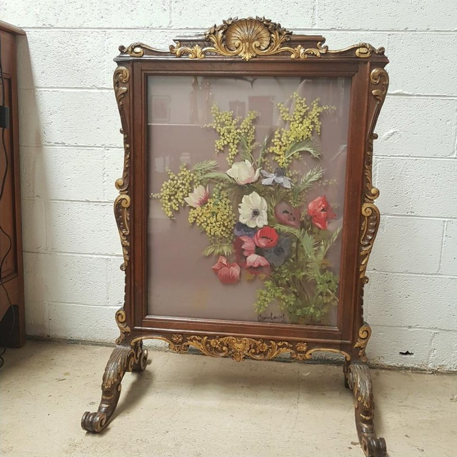 Buy Hand Painted Wooden Fire Screen From Moonee Ponds Antiques