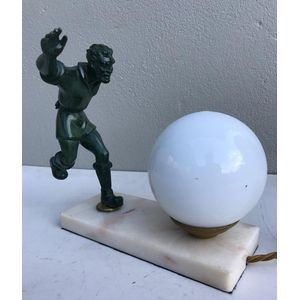 Great 1930's French deco patinated soccer player lamp on a marble base. Figure has good detail and the lamp comes with a white...