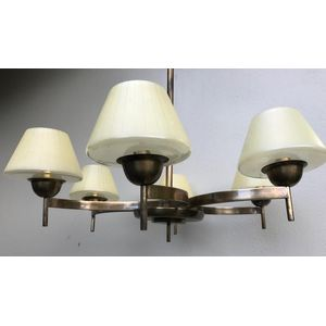 Large 1930's German deco brass 6 light chandelier with curved arms and a nice patina finish. Comes with original cream/clear...