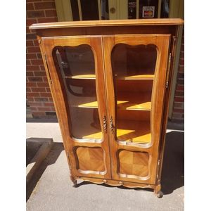 French cherrywood two door display/bookcase three adjustable height  shelves .Solid top lock and key in great condition .