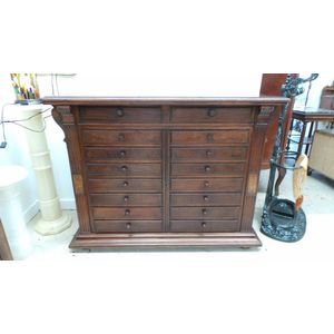 Fabulous French Walnut 16 drawer lockable specimen cabinet which would be ideal for all your small collectables. This piece is...