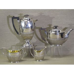 This late Victorian sterling silver 4 piece tea and coffee service is in wonderful condition and weighs in at a total of 1618...