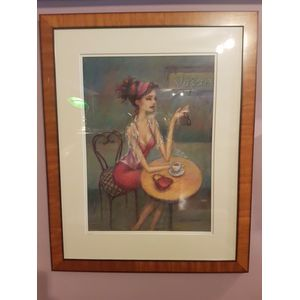 Accomplished melbourne artist Terrianne Murray pastel work depicting beautiful woman having a coffee . Nicely framed satinwood...
