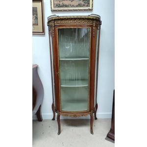 Stunning Late 19 th century French Louis XV Th style marble top, Mahogany Vitrine with curved glass and bronzed mounts . The...