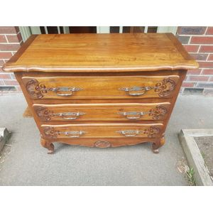 French walnut three drawer chest/commode .Scrolled feet , fine carvings metal handles ,in great condition .