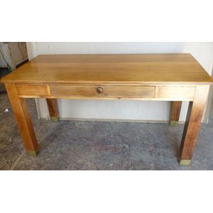 Tasmanian oak table desk, originally a school or workshop table with brass feet, restored and ready to use.