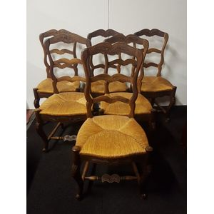 Set of 6 French walnut and rus