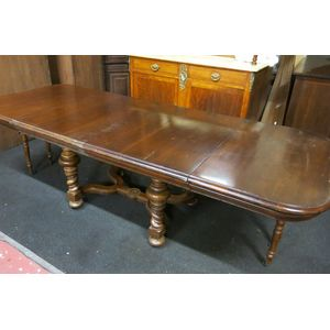 Lovely and unusual French walnut 2 leaf (2ext) dining table. In process of restoration. With French makers mark to the King of...