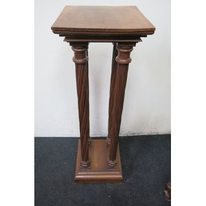 French walnut 4 pillar pedestal with each pillar having fine cork screw turnings on solid base and top.