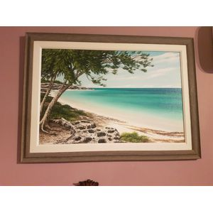 Pleasnt framed work by Alvin Moss of a Bahamas beach .Dimensions  overall framing .