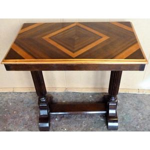 Art Deco walnut occasional table, walnut veneer in geometric pattern on top, good original condition .