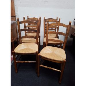Set of 6 French beech and rush