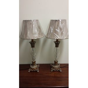 Pair Metal Base Crackled Glass