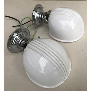 Nice pair of 1930's chrome American deco bathroom wall lights with their original moulded white glass shades. Each has been...