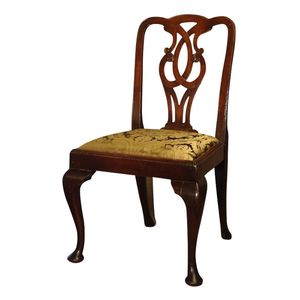 $2400set4.This marvelous set of 4 chairs in mahogany is in the style of George II, C1740, but the chairs are excellent copies...