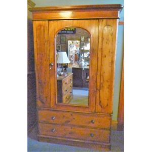European Baltic pine single door robe, mirrored door, loads of hanging space, 2 large drawers in base, restored with lots of...