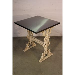 A well beautiful stainless steel table with ornate Victorian or provincial French powder coated aluminium cast base. A...