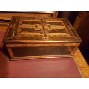 Antique deed box inlaid with n