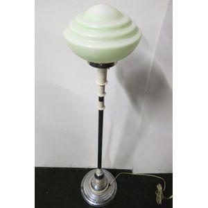 Art Deco chrome side lamp or standard lamp, chrome pole, bakellite fittings, original art deco shade.