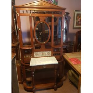 Antique  walnut hallstand original brass hooks carrara marble top drawer minton tiles mirror all complete in great condition.
