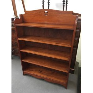 Solid Blackwood Open Bookshelves with pierced arts and crafts motif, fully adjustable shelves and tall rail surround top....