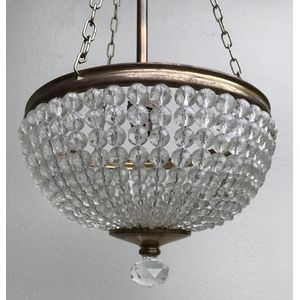 Very nice 1930's Czech/Bohemian brass framed glass/crystal basket chandelier. Comes complete with aged brass rod/3 chain...