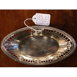 English Sterling Silver Adam style navette shaped Bonbon dish with pierced sides. 192 grams 1926 Birmingham.