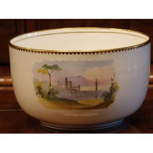 This Victorian English bone china bow is a slop bowl form a tea service. These useful items had all but disappeared by the...