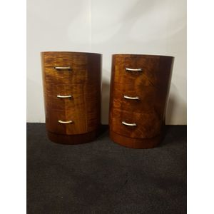 Pair of Art Deco figured Maple bedside cabinets. Oval shape with curved drawers and bakellite and chrome handles with mirrored...