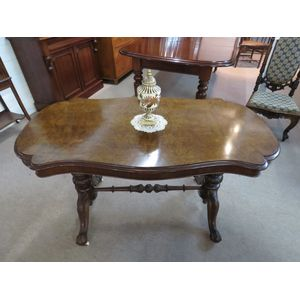 A Victorian Burr Walnut Serpentine Console Table