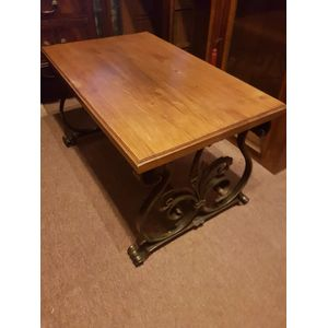 Impressive french oak wrought iron base coffee table in excellent condition.