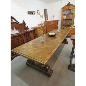 Superb Quality French Style Long Table with Parquetry Inlaid Top
