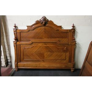 Henry Style French walnut queen size bed with custom made slats. Solid walnut with turned pillars and finials.