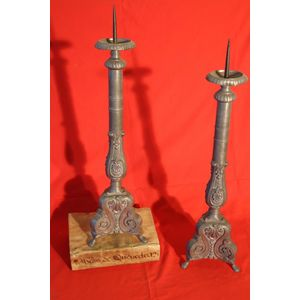 Antique  pair of solid Pewter