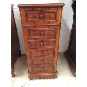 An amazing 19th century walnut Henry 2nd style multi drawer cabinet with a beautiful marble top. In good original condition.
