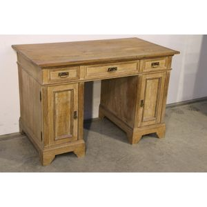 A Scandinavian limed oak writing table or desk . This sturdy desk with beautifully framed mouldings with three drawers and two...