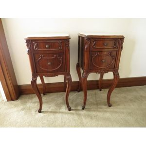A pair of French marble top ma