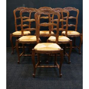 Set of Six French Oak Chairs