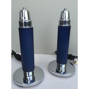 great pair of 1930's American deco chrome base bullet lamps with original ribbed cobalt blue glass shades. Both lamps have been...
