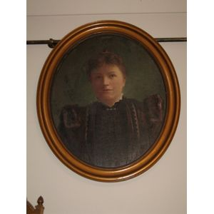 C1900 Oil on Canvas Oval Portr
