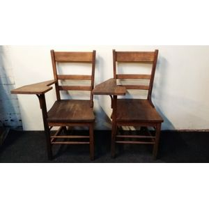 Set of 4 Melbourne University lecture theater chairs c1920s. Two shown in picture, but 4 available. Can sell separate or as set....