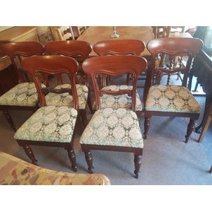 Set of six WilliamIV mahogany dining chairs .Shaped top rail or ade back .Pop out seats .Price per chair 99.00