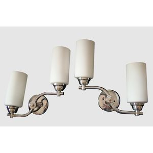Striking pair of 1930's English deco chrome curved double arm wall lights with cylindrical white glass shades and a very...