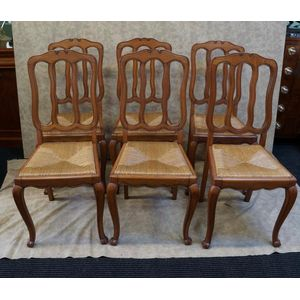 set of six french chairs in go
