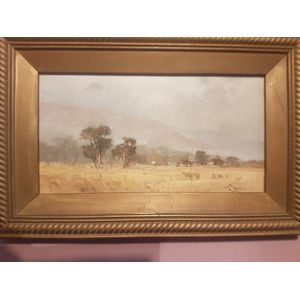 Terry Lewitzka oil on board titled Mid nth Melrose south australia .Pretty little work . Dimensions overall framing .