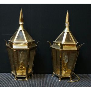Pair Of Great Quality Georgian Style Solid Brass Wall Lamps ........In Rewired Condition $1550 The Pair